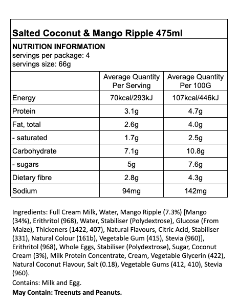 Nutritional information for Tilly's Guilt Free Ice-Cream - Salted Coconut and Mango Ripple