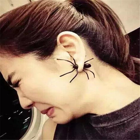 Single Black Spider Earring