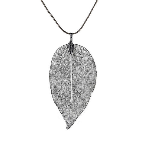 Image of Real Leaf Pendant Necklace in Silver, Gold, Rose Gold, Black by WorldWideShop
