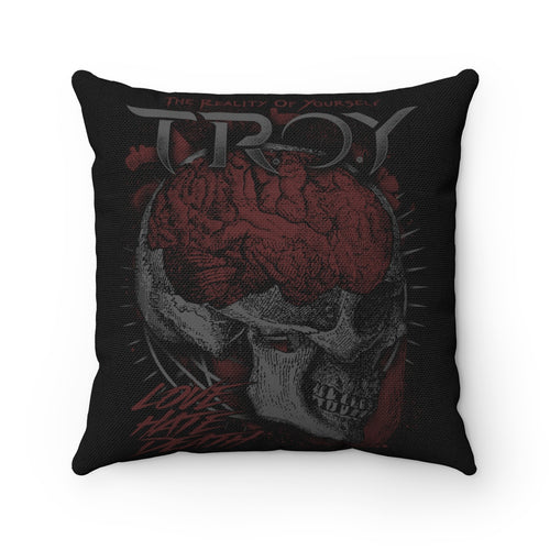 TROY Love Hate Death Spun Polyester Square Pillow