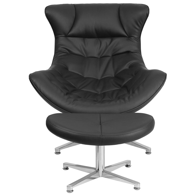 Black Leathersoft Cocoon Chair With Ottoman By Flash Furniture Jullzz