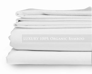 Queen - Hotel White Signature Collection Luxury 100% Organic Bamboo Bed Sheet Sets