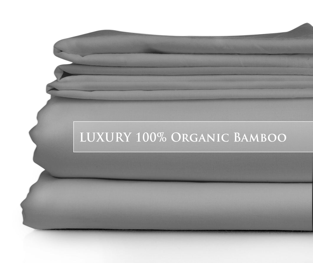 King Single - Silver Night Luxury Signature Collection 100% Organic Bamboo Bed Sheet Set