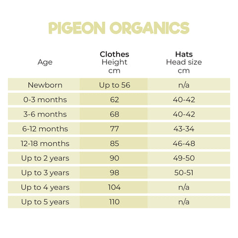 Size Guide for Pigeon Organics