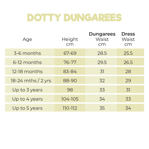 Size Guide for Dotty Dungarees