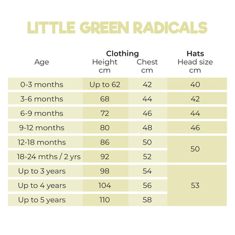 Size Guide for Little Green Radicals