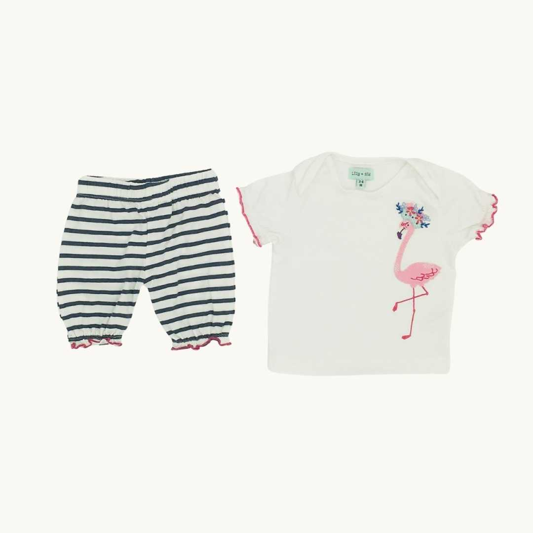 Hardly Worn Lilly & Sid flamingo bloomer set size 3-6 months