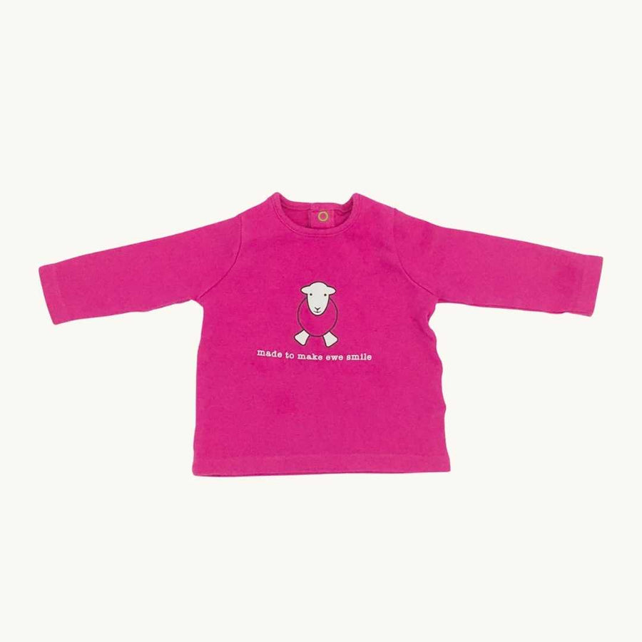 Hardly Worn Herdy Baby pink sheep top size 3-6 months