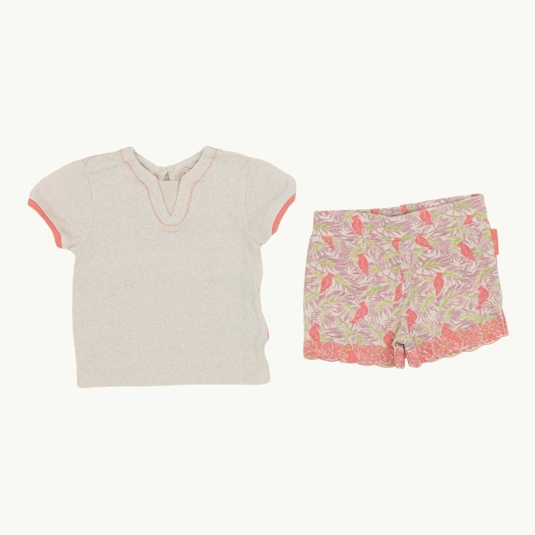 Hardly Worn Noppies Baby flower shorts set size 4-6 months
