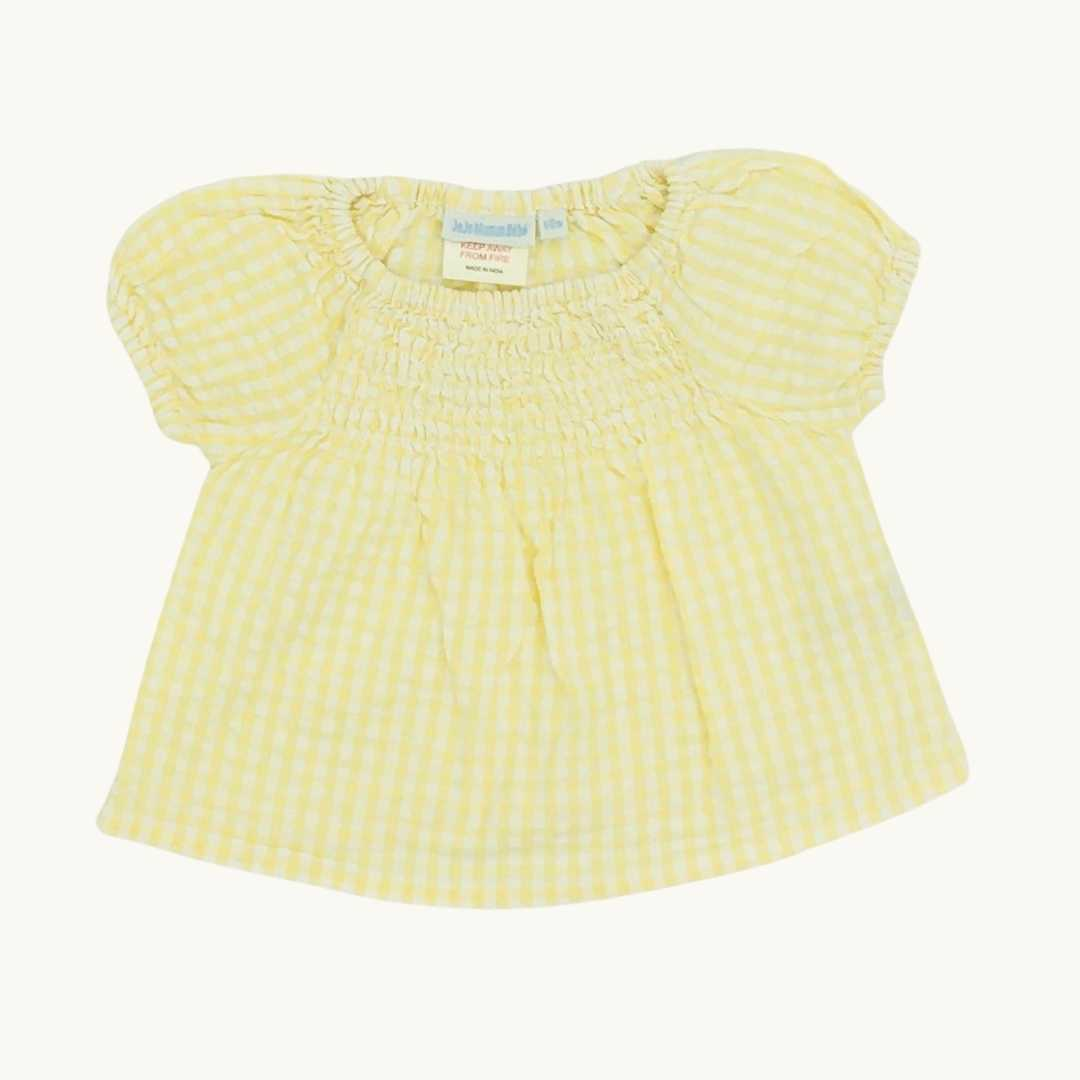 Gently Worn Jojo Maman Bebe yellow gingham top size 6-12 months