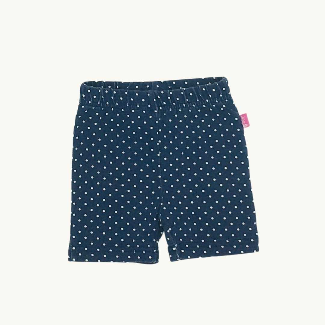 Gently Worn Jojo Maman Bebe navy spot short leggings size 6-12 months
