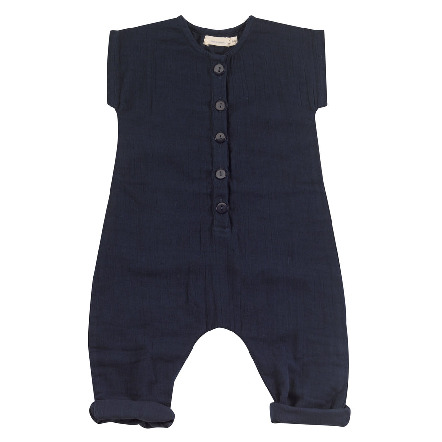 Muslin jumpsuit in navy
