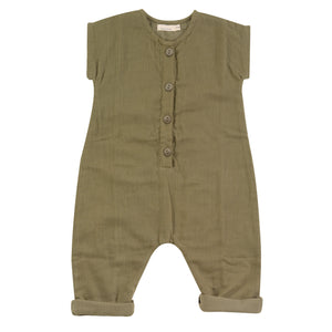 Muslin jumpsuit in olive