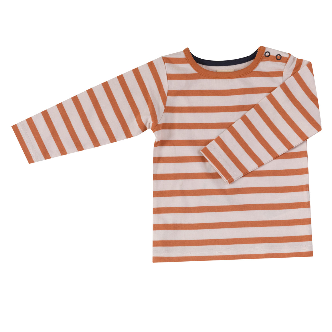 Long sleeve T-shirt in sienna breton stripe