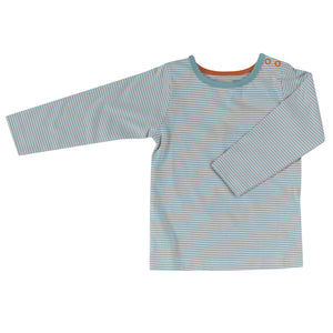 Long sleeve T-shirt in turquoise fine stripe