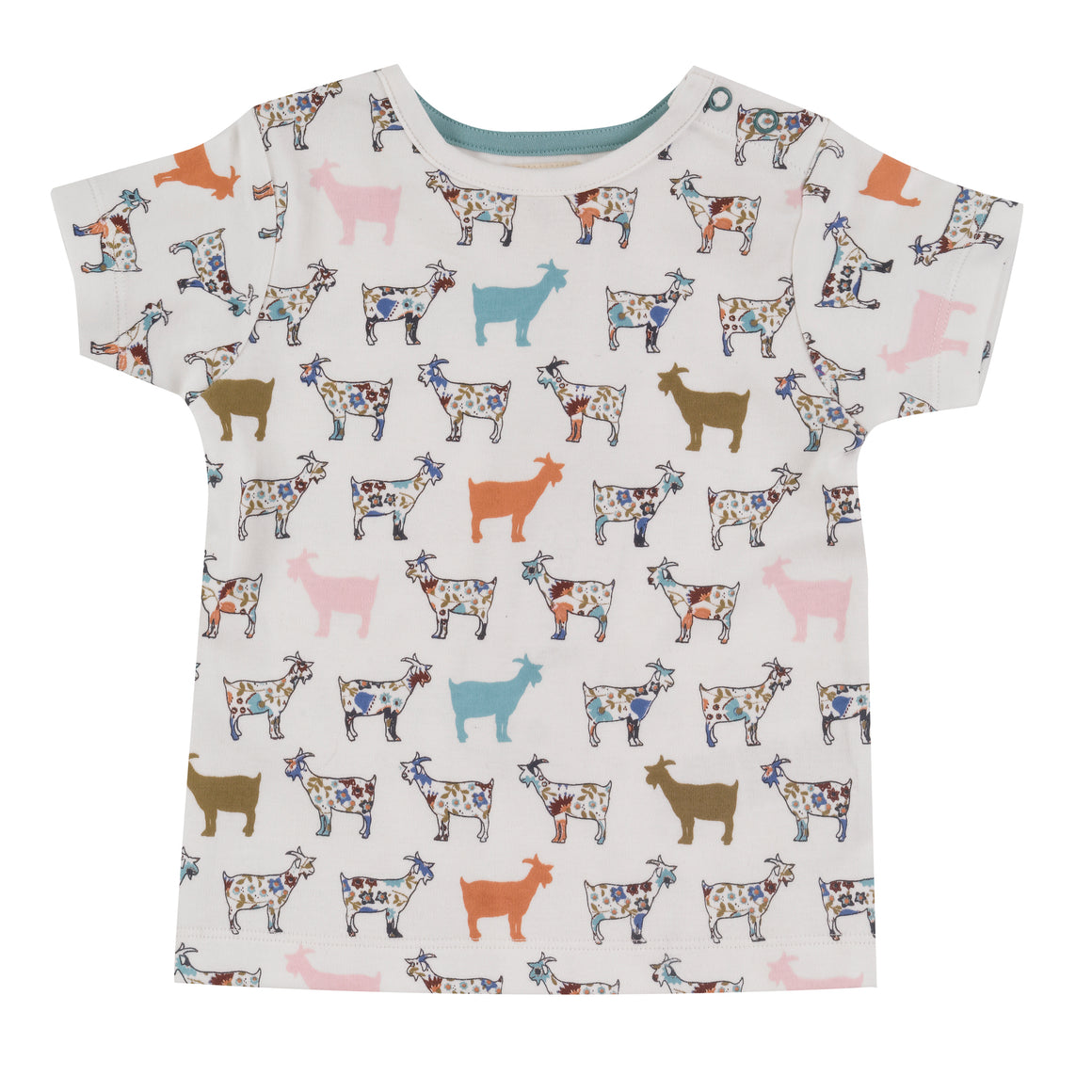 Short sleeve T-shirt in goat print