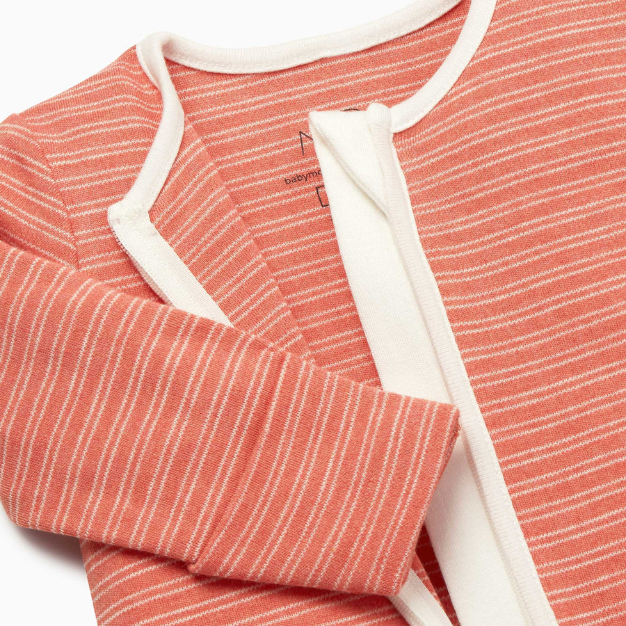 Zip-Up Sleepsuit in Coral Stripe