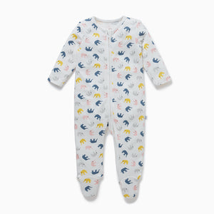 Zip-Up Sleepsuit in Little Elephant print