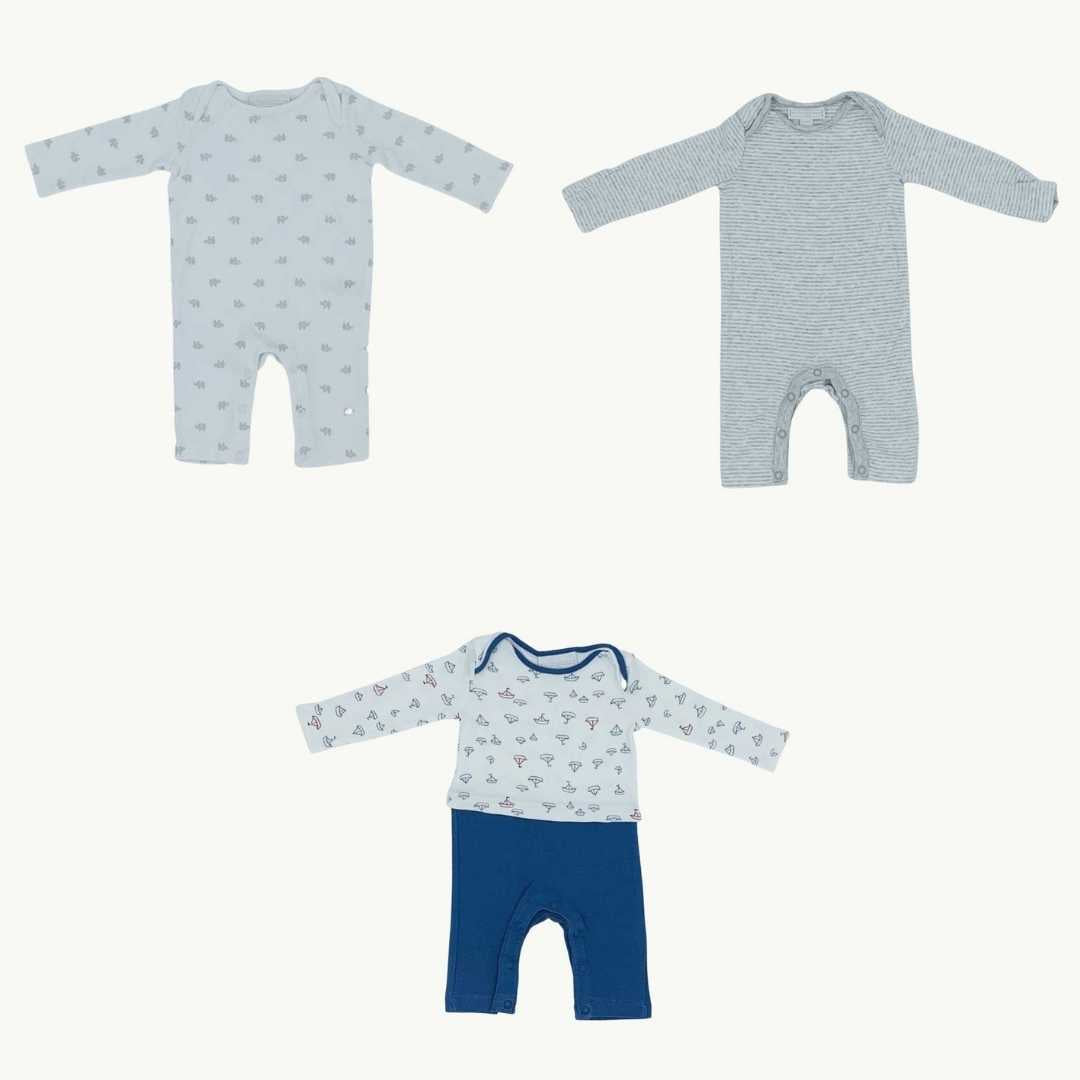 Hardly Worn The White Company grey romper bundle Size 0-3 months