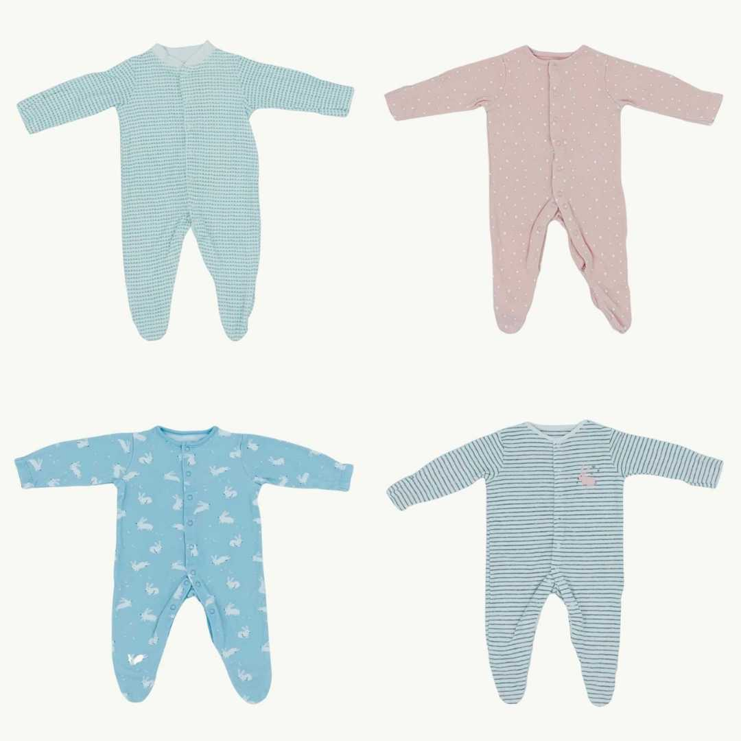 Hardly Worn John Lewis rabbit sleepsuit bundle Size 0-3 months