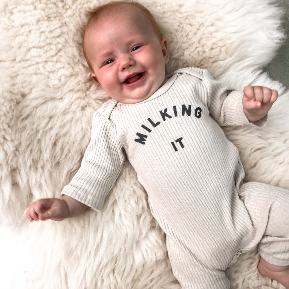 Milking It Organic Sleepsuit in Oat