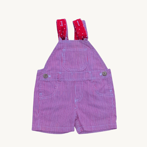 Hardly Worn Red Stripe Dotty Dungaree Shorts size 3-6 months