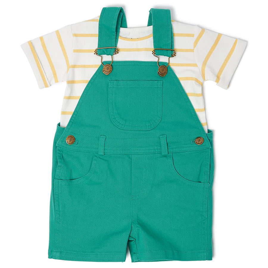 Dungaree Shorts in Emerald Green