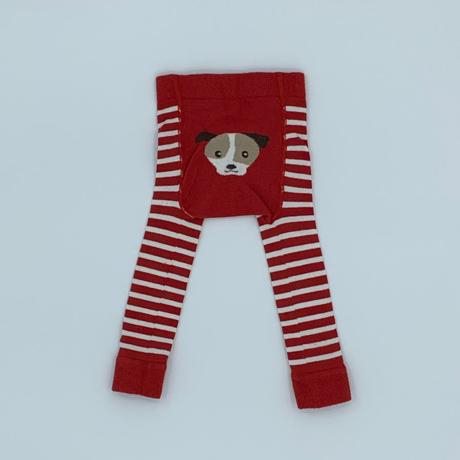 Gently Worn Jojo Maman Bebe red & white knitted tights size 0-6 months