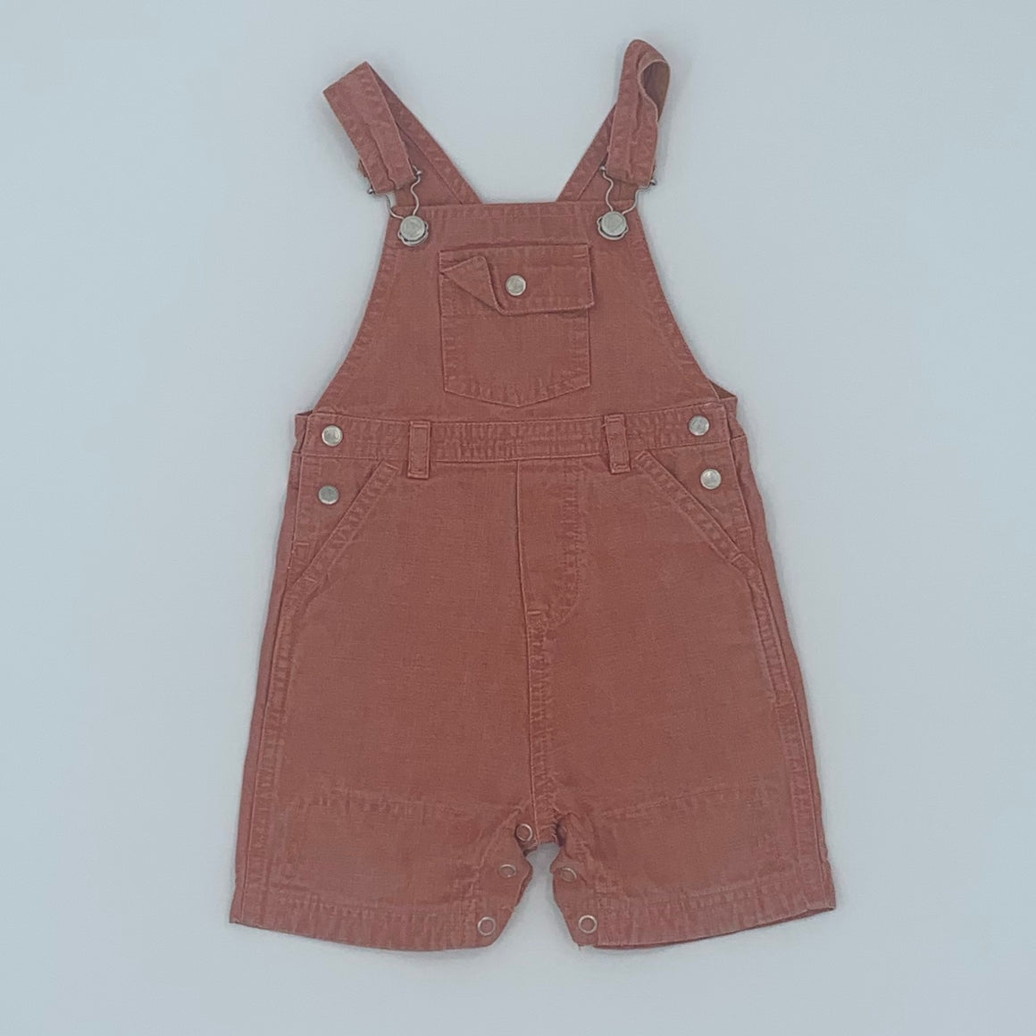Gently Worn Petite Bateau dungaree shorts size 9-12 months