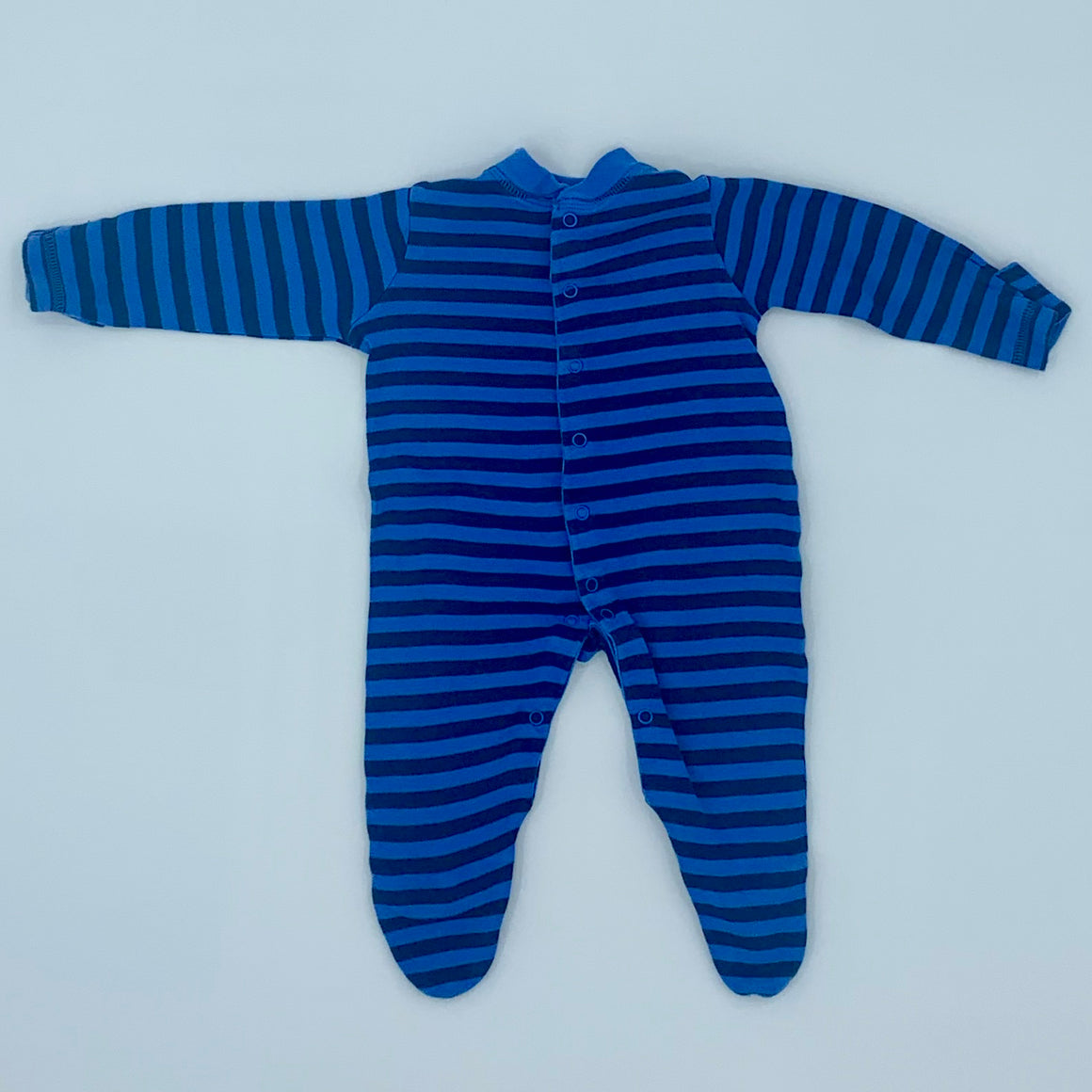 Gently Worn John Lewis blue striped sleepsuit size 0-3 months