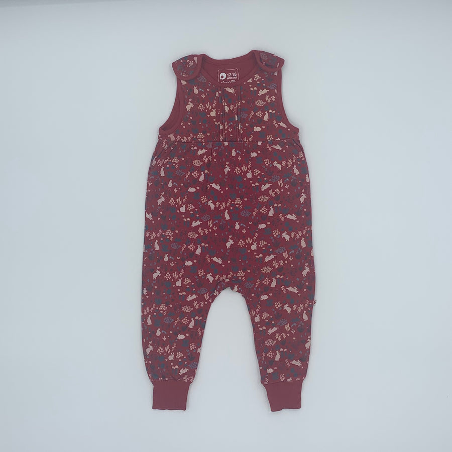Hardly Worn Picalilly rabbit romper dungarees size 12-18 months