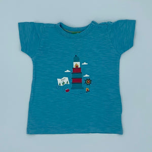 Gently Worn Little Green Radicals blue lighthouse t-shirt size 12-18 months