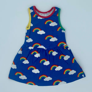 Hardly Worn Toby Tiger blue rainbow dess size 6-12 months