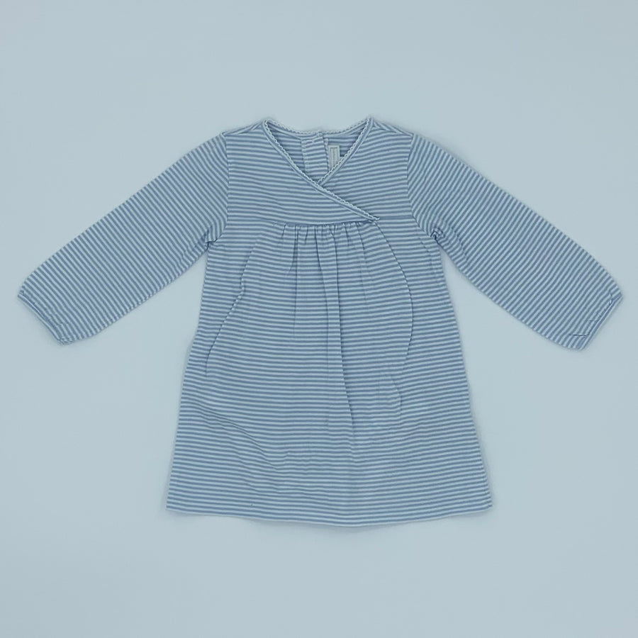 Hardly Worn The White Company striped all-in-one dress size 9-12 months