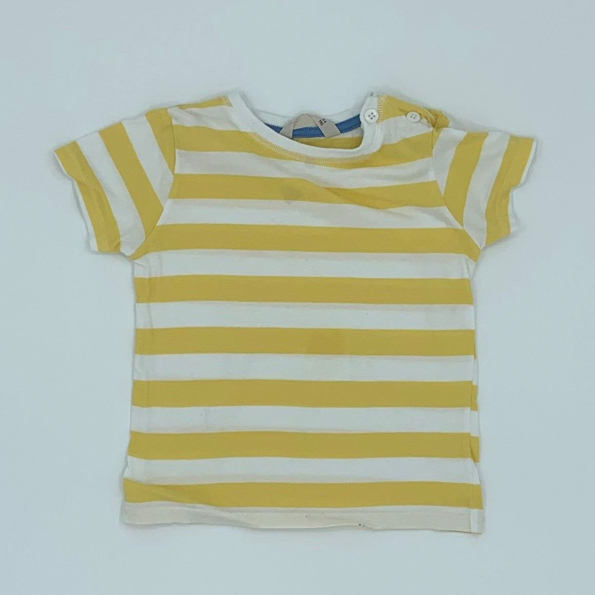 Gently Worn John Lewis yellow striped t-shirt size 3-4 years