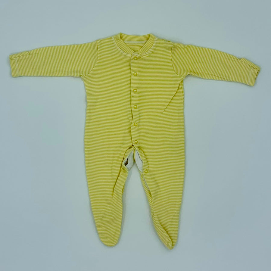 Hardly Worn John Lewis yellow striped sleepsuit size 3-6 months