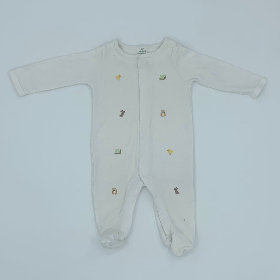 Gently Worn John Lewis animal embroidered sleepsuit size 3-6 months