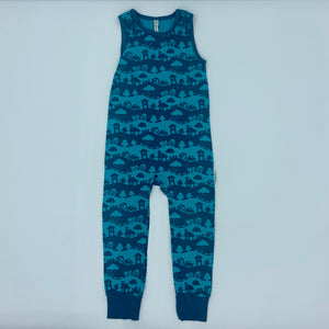 Hardly Worn Maxomorra countryscape romper dungarees size 3-4 years