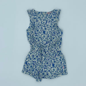 Gently Worn Joules blue flower playsuit size 3-4 years