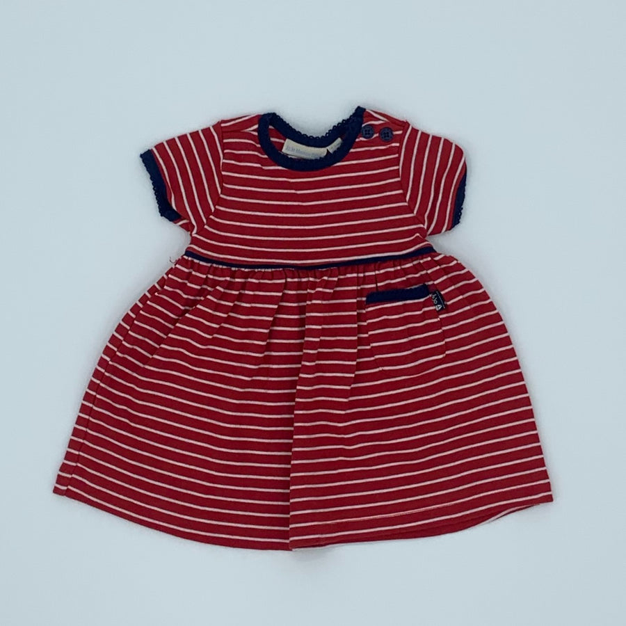 Hardly Worn Jojo Maman Bebe red striped dress size 0-3 months