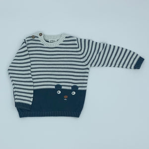 Hardly Worn Newbie striped jumper size 6-9 months