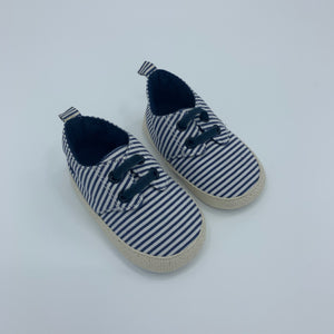 Never Worn Jojo Maman Bebe striped shoes size 6-12 months