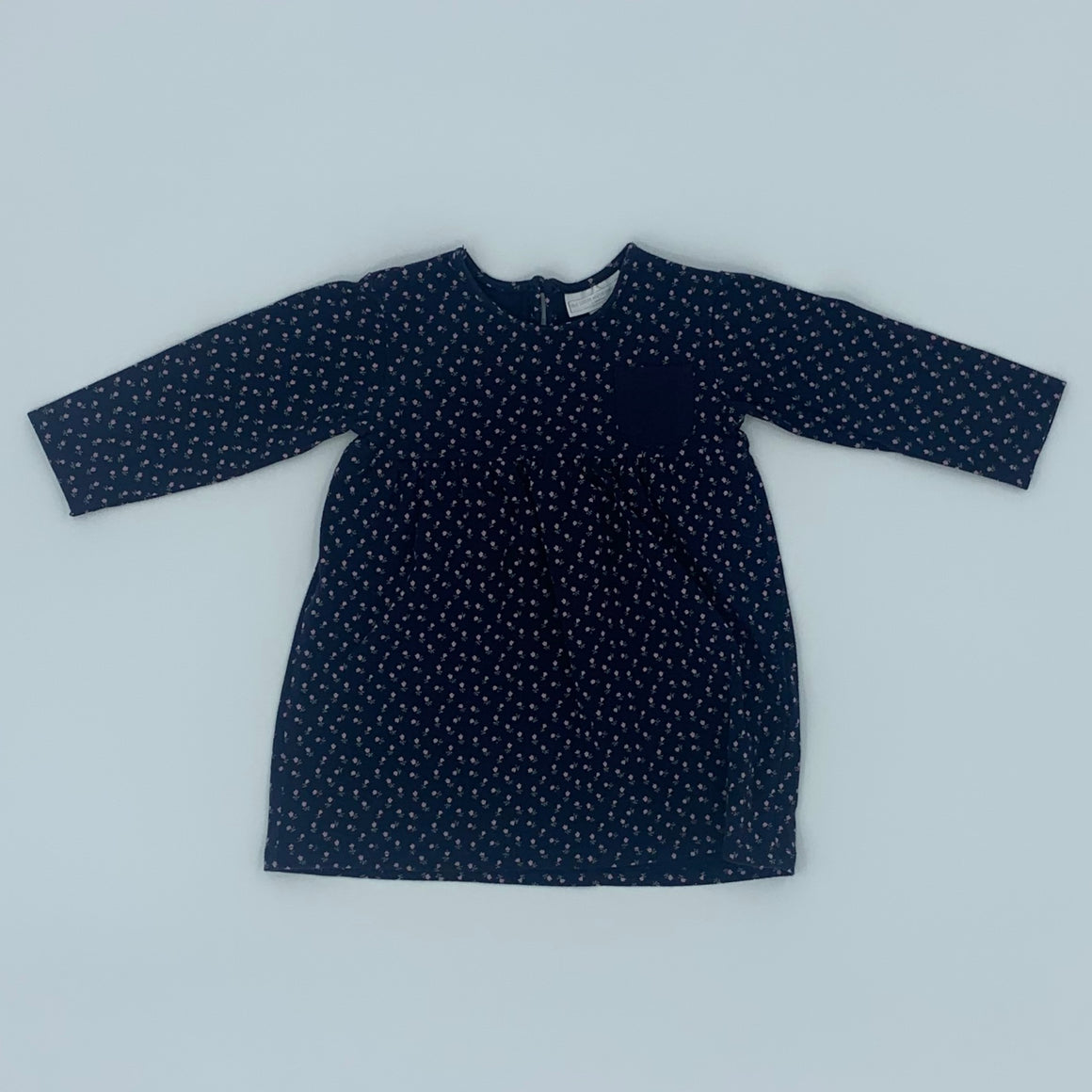 Gently Worn The White Company navy flower dress size 9-12 months
