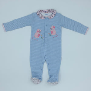 New Jojo Maman Bebe mouse striped sleepsuit size 9-12 months