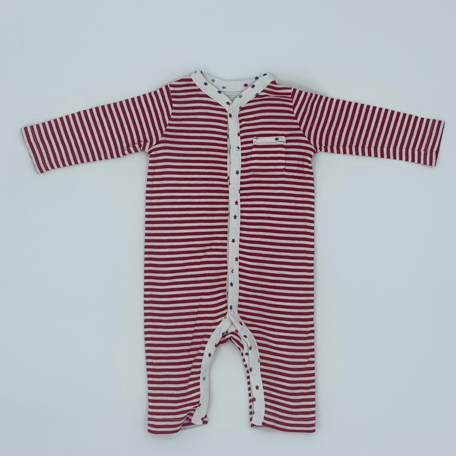 Hardly Worn The White Company star striped romper size 3-6 months