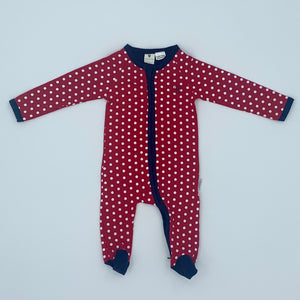 Hardly Worn Korango red spot zip-up sleepsuit size 3-6 months