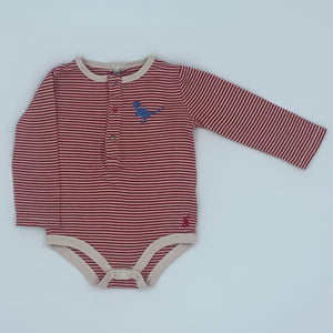 Gently Worn Joules striped dinosaur bodysuit size 9-12 months