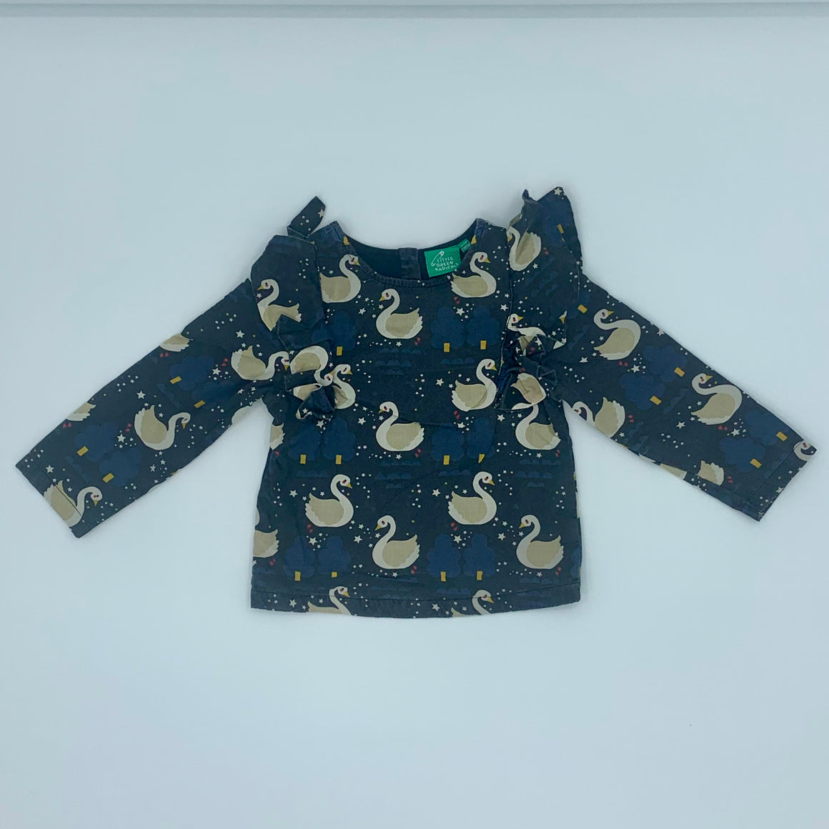 Needs TLC Little Green Radicals black swan ruffle top size 4-5 years