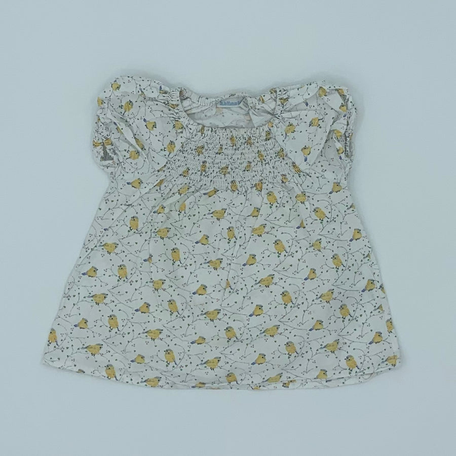 Gently Worn Jojo Maman Bebe bird top size 2-3 years