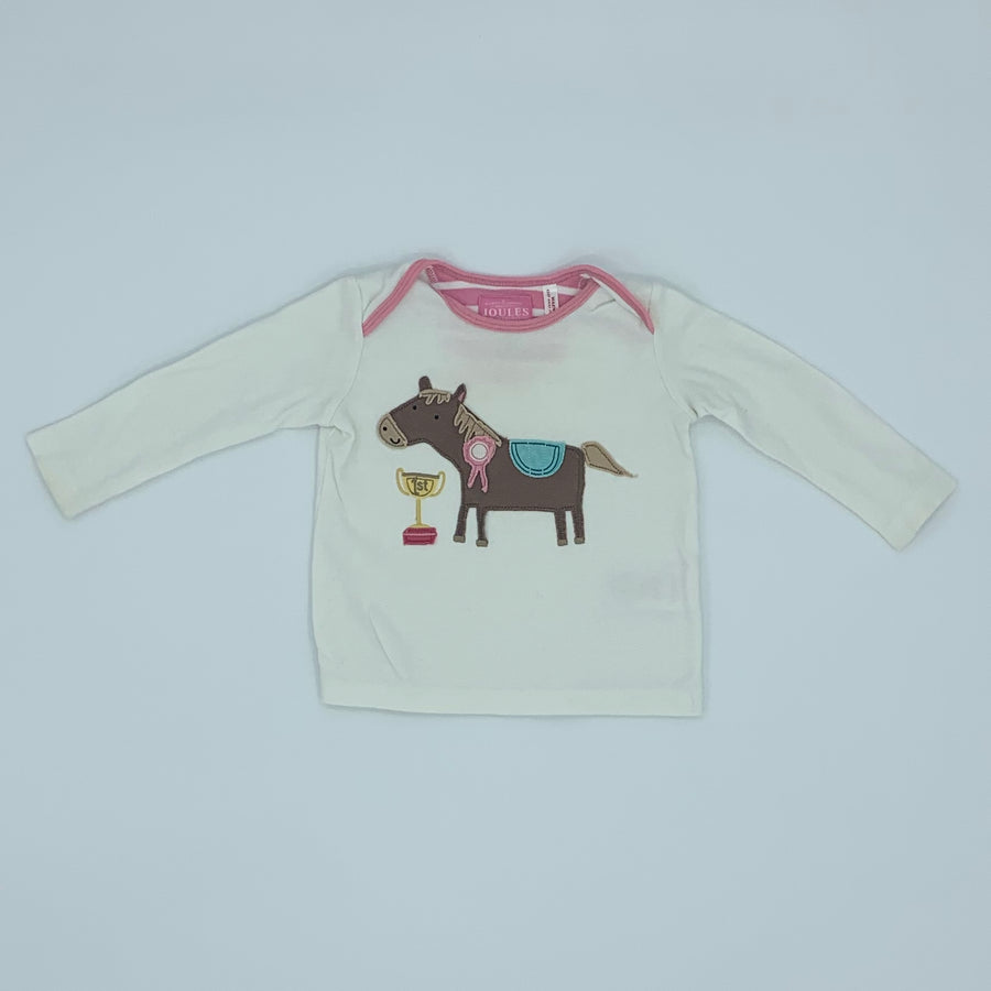 Gently Worn Joules horse applique top size 9-12 months